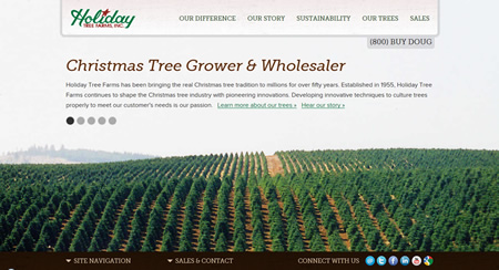 Holiday Tree Farms Website Homepage