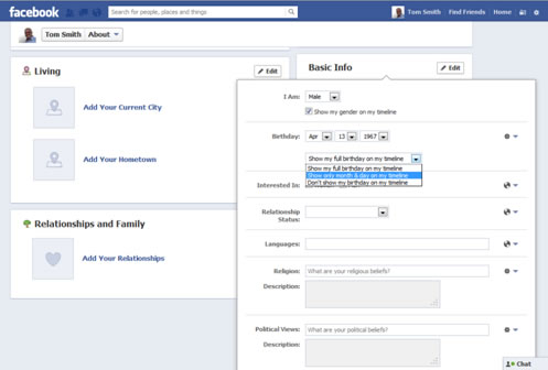 Facebook Account Setup Basic Profile Information