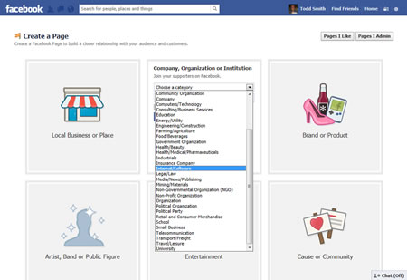 Facebook Business Page Industry