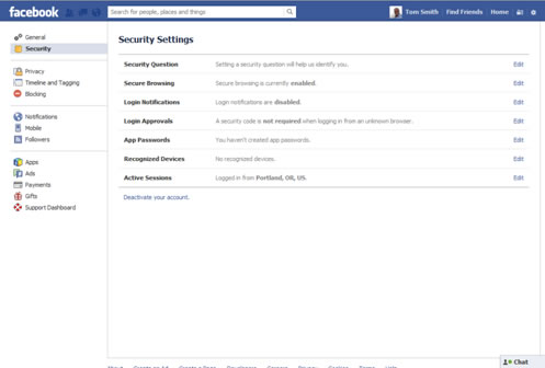 Facebook Account Setup Security Settings