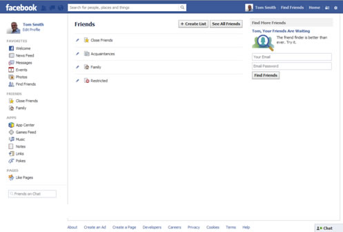 Facebook Account Setup Smart Lists
