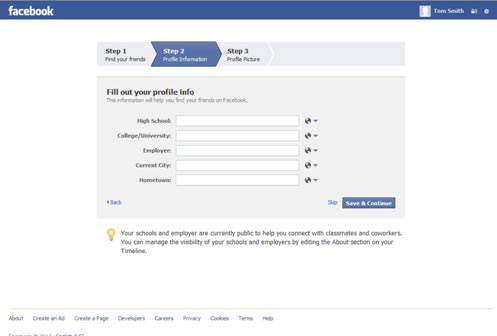 Facebook Account Setup Step Two