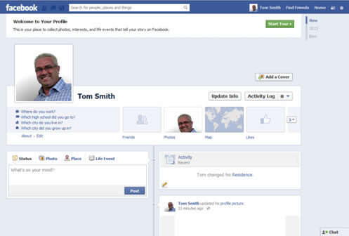 Facebook Account Setup Timeline View