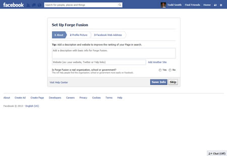 Facebook Business Page Organization Information