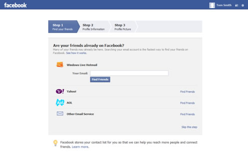 Facebook Account Setup Step One